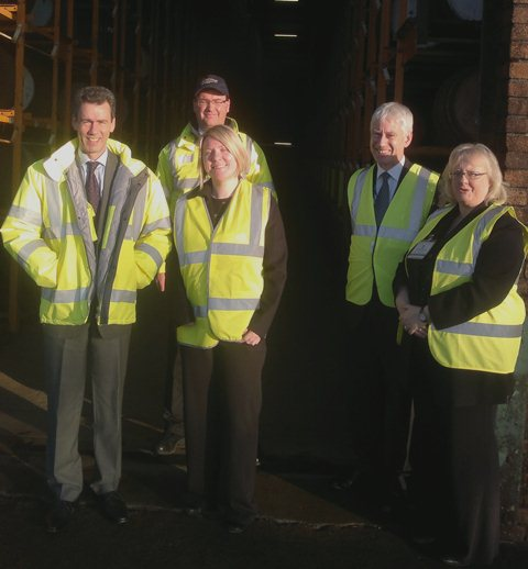 Siobhan with (from left to right): Operations Manager Martin Leonard; Master Blender Stuart Harvey; Keith Fulton and Joy Love of Scottish Enterprise