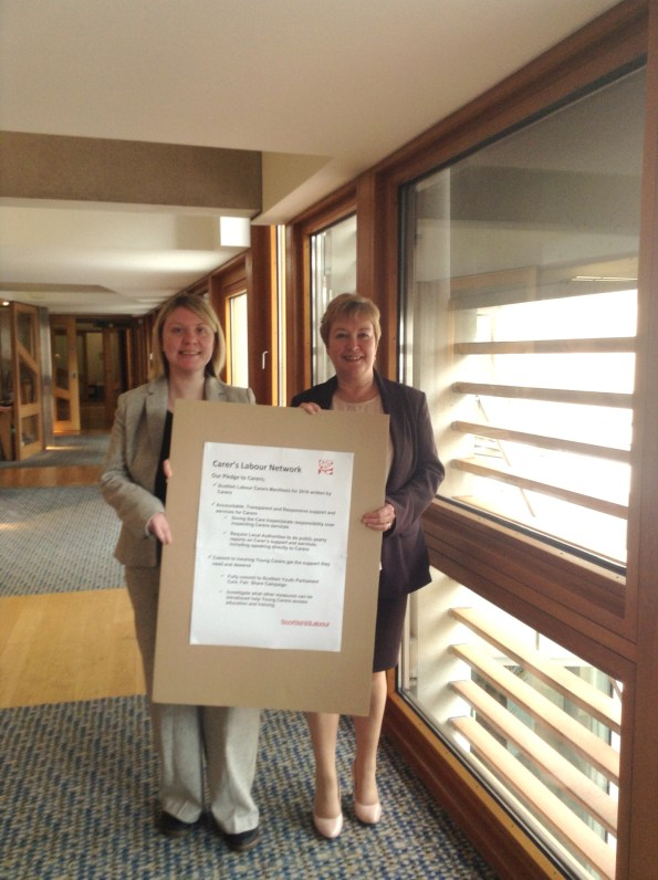 With the Shadow Minister for Wellbeing Rhoda Grant MSP and the Carer's Labour Network pledge.