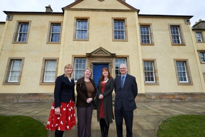 Left to Right:  Linda Barrett, Exhibitions Development Officer, Low Parks Museum, Siobhan McMahon MSP, Joanne Orr, CEO Museums Galleries Scotland, John McGarrity, Information Services Co-ordinator SLLC